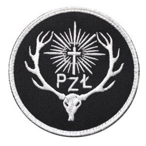 Naszywka PZŁ Polski Związek łowiecki 85mm – czarne tło IND