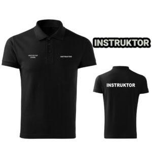 Czarna koszulka polo INSTRUKTOR strzelectwa sportowego HAFT-DRUK