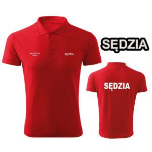 Czerwona koszulka polo SĘDZIA STRZELECTWA SPORTOWEGO HAFT-DRUK