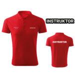 Czerwona koszulka polo INSTRUKTOR strzelectwa sportowego HAFT-DRUK