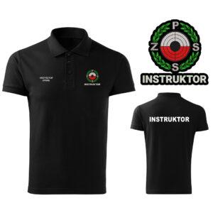 Czarna koszulka polo INSTRUKTOR Polski Związek Strzelectwa Sportowego PZSS HAFT-DRUK