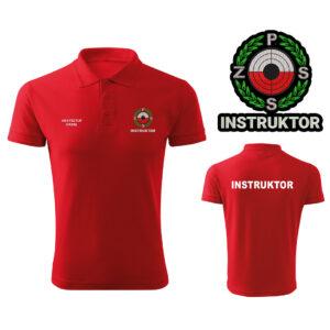 Czerwona koszulka polo INSTRUKTOR Polski Związek Strzelectwa Sportowego PZSS HAFT-DRUK