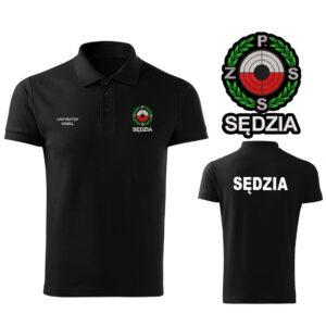 Czarna koszulka polo SĘDZIA Polski Związek Strzelectwa Sportowego PZSS HAFT-DRUK