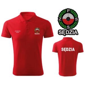 Czerwona koszulka polo SĘDZIA Polski Związek Strzelectwa Sportowego PZSS HAFT-DRUK