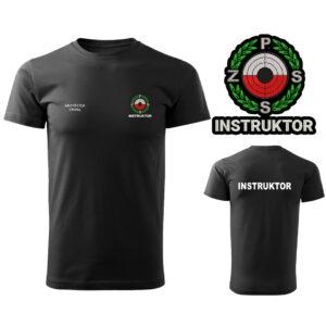 Czarna Koszulka T-SHIRT INSTRUKTOR Polski Związek Strzelectwa Sportowego PZSS druk DTG