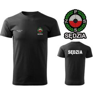 Czarna koszulka T-SHIRT SĘDZIA Polski Związek Strzelectwa Sportowego PZSS druk DTG