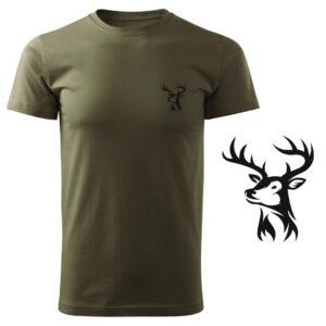 Koszulka t-shirt myśliwska myśliwy jeleń z nadrukiem DTG064