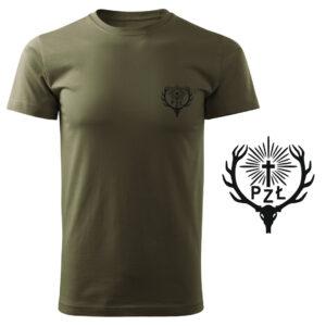 Koszulka t-shirt myśliwska z nadrukiem PZŁ Polski Związek Łowiecki DTG067