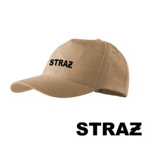 Piaskowa czapka strażacka z daszkiem – napis STRAŻ OSP PLT