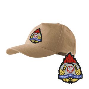 Piaskowa czapka strażacka z daszkiem WZÓR 05 Państwowa Straż Pożarna PSP PLT